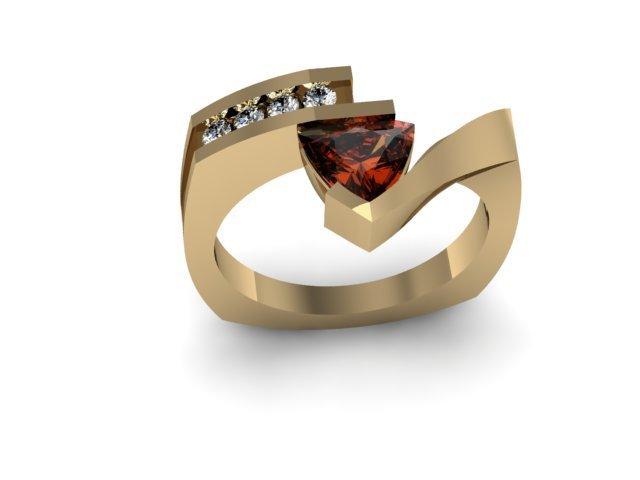Genuine 0.77 ctw Garnet Trillion Diamond Ring 10k