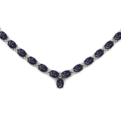 NATURAL 22.00 CTW SAPPHIRE NECKLACE .925 STERLING SILV
