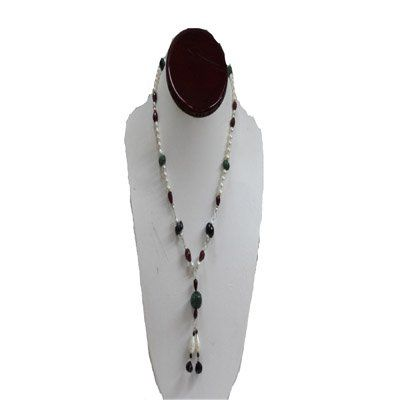 Natural 166.25ct Pearl,Emerald,Ruby,Semi Precious Neckl