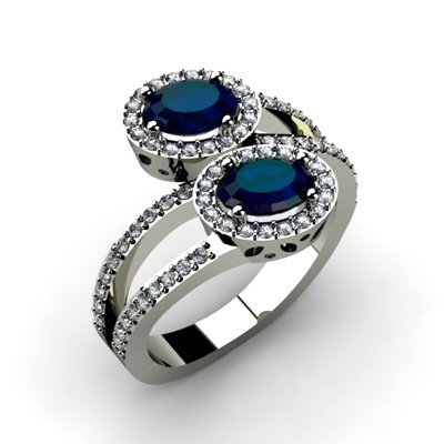 Sapphire 1.53 ctw & Diamond Ring 14kt W/Y  Gold