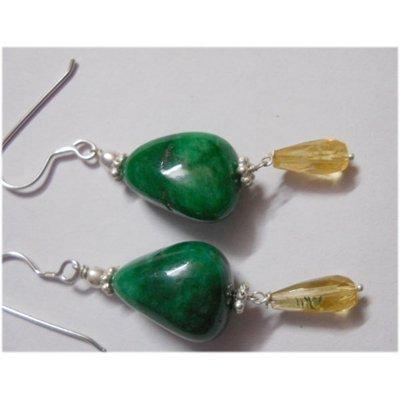 Natural 42.55ct Emerald/Semi Precious Earring .925 Ster