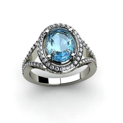 Topaz 4.08 ctw & Diamond Ring 18kt W/Y  Gold