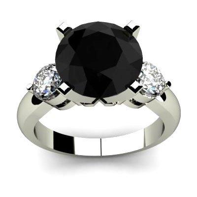 Genuine 4.90 ctw Black Diamond Ring Whte/Yllw Gold 14kt