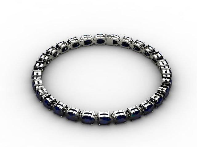 Genuine 13.80 ctw Sapphire Bracelet 10k W/Y Gold,6.8g