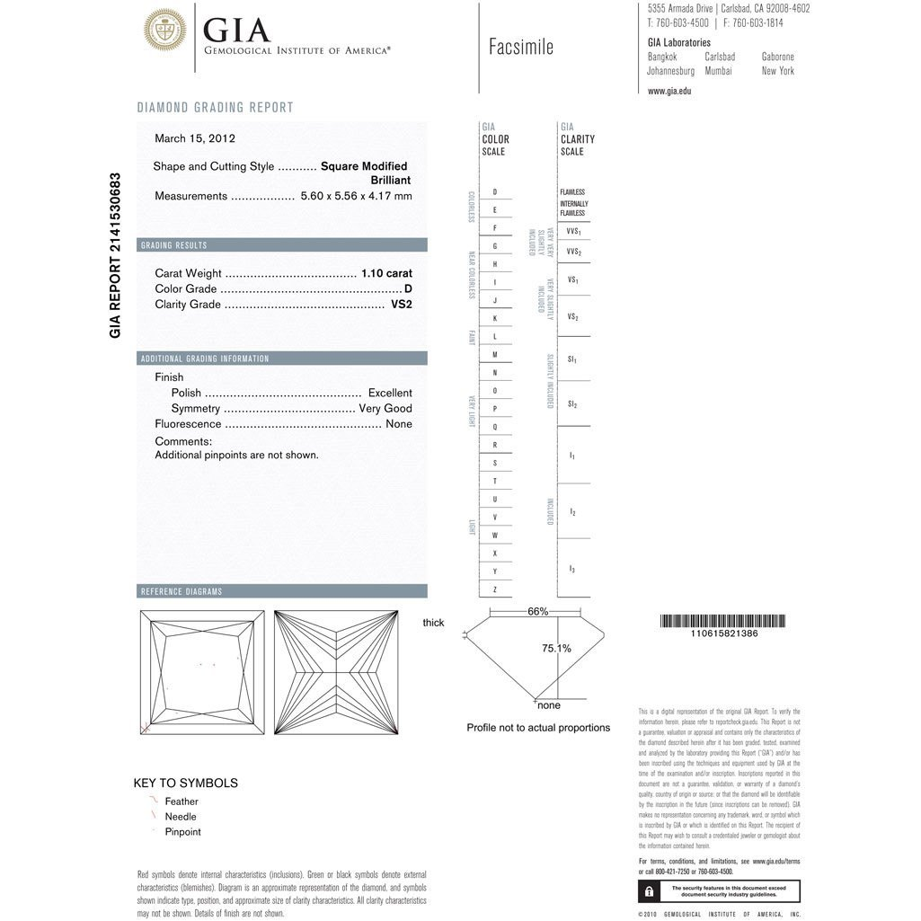 Diamond GIA Cert. Square 1.10 ctw D, VS2 - 2