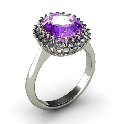 Amethyst 4.72 ctw & Diamond Ring 14kt W/Y  Gold