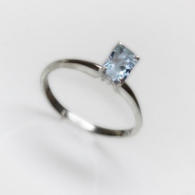 Natural 1.00 ctw Aquamarine Emerald .925 Sterling Ring