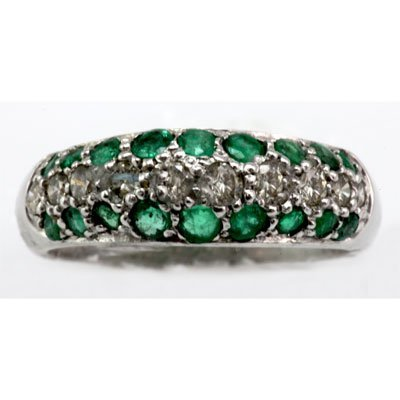 Genuine 0.96 ctw Emerald Diamond Ring 14k W/Y Gold