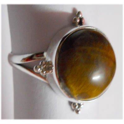 Natural 29.35 ctw Tiger Eye Round Ring 925 Sterling