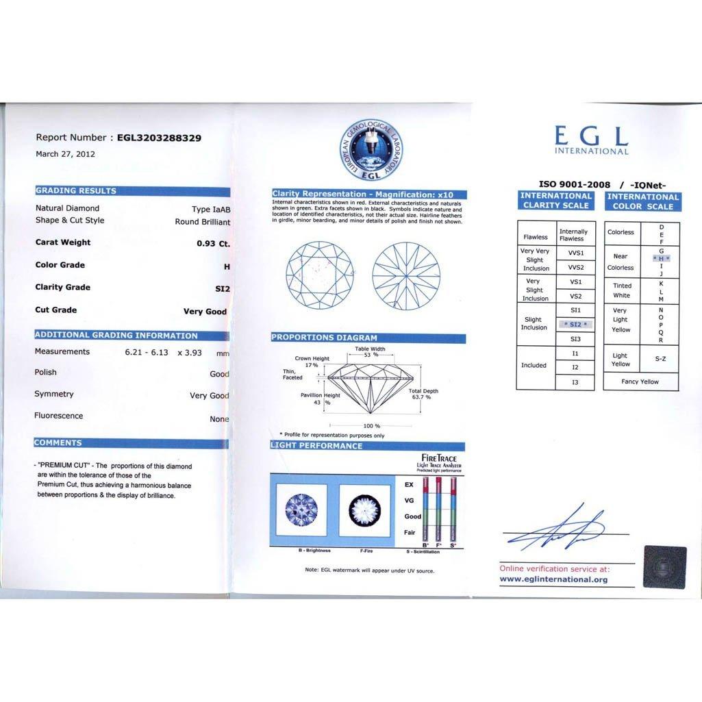 Diamond EGL Certified Round 0.93 ctw H,SI2 - 2