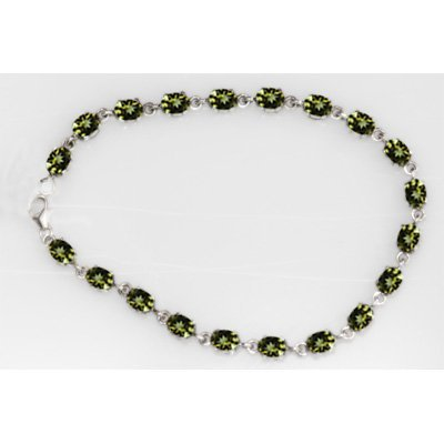 NATURAL 9.00 CTW PERIDOT OVAL BRACELET .925 STERLING SI