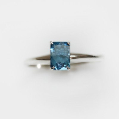 Natural 3.35 ctw Blue Topaz Emerald .925 Sterling Ring