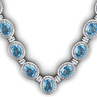 Certified 44.85 ctw Topaz Diamond Necklace 14k