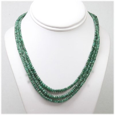 Emerald round 3 rows 150.34 ctw Necklace