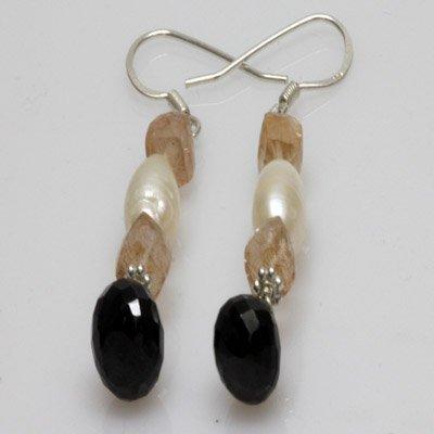 Natural 38.50ct Pearl,Semi Precious Earring .925 Sterli
