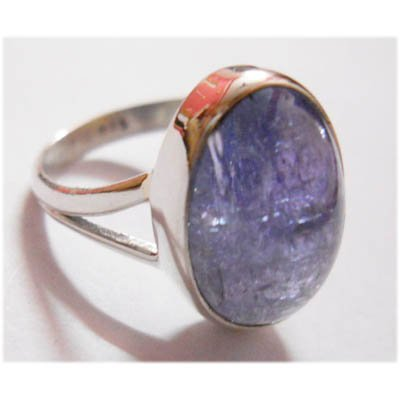 Natural 22.70 ctw Tanzanite Oval Ring .925 Sterling