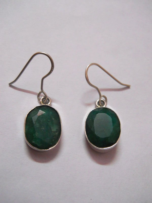 NATURAL 21.20 CTW EMERALD OVAL ERRINGS .925 STERLING SI