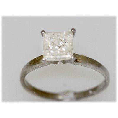 1.38CTW 14k GOLD DIAMOND RING PRINCESS H-1/I2-I3
