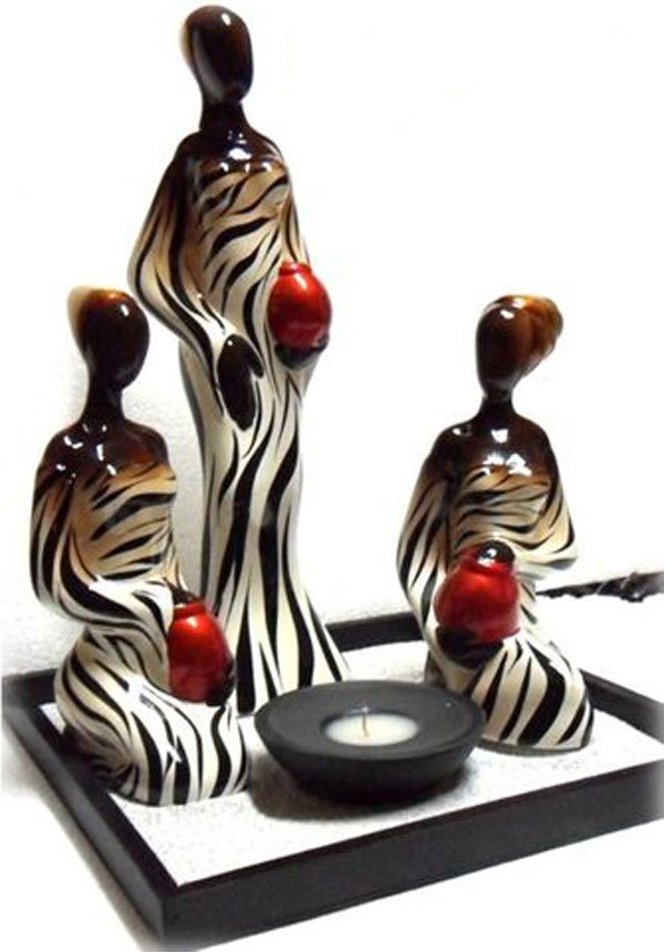 DECORATIVE ZEBRA WOMAN CANDLE SET