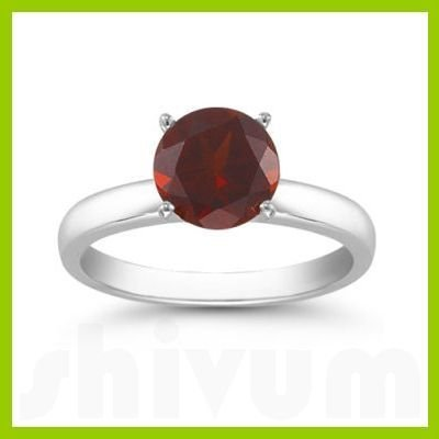 Genuine 1.60 ctw Garnet Solitaire Ring 14kt Gold-White