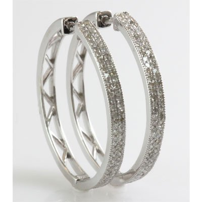 Genuine 0.52 ctw Diamond Round Cut Hoop Earring 10k