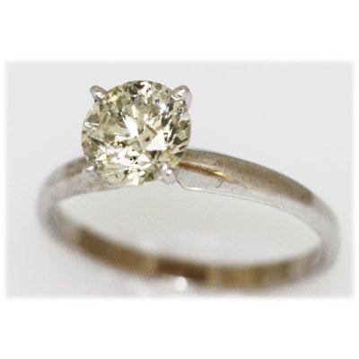 1.25 CTW 14K GOLD DIAMOND RING ROUND C1/I1