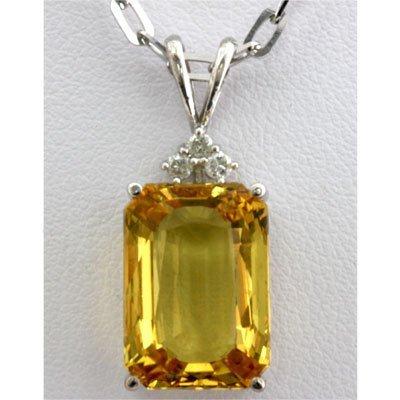 Genuine 10.88 ctw Yellow Sapphire Diamond Necklace 14k