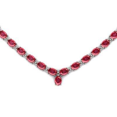 Natural Garnet 57.4ctw Oval Necklace .925 Sterling