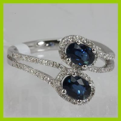 Genuine 1.66 ctw Diamond Sapphire Ring 18K White Gold