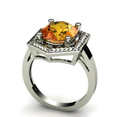 Genuine 4.28 ctw Citrine Diamond Ring W/Y Gold 10kt