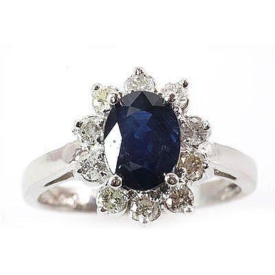 Genuine Blue Sapphire 2.4 ctw Diamond Ring 10k