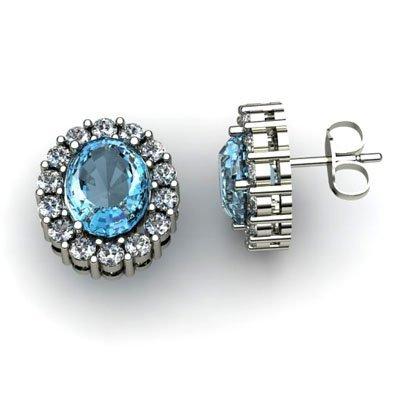 Genuine 3.74 ctw Topaz Diamond Earring 14k W/Y Gold