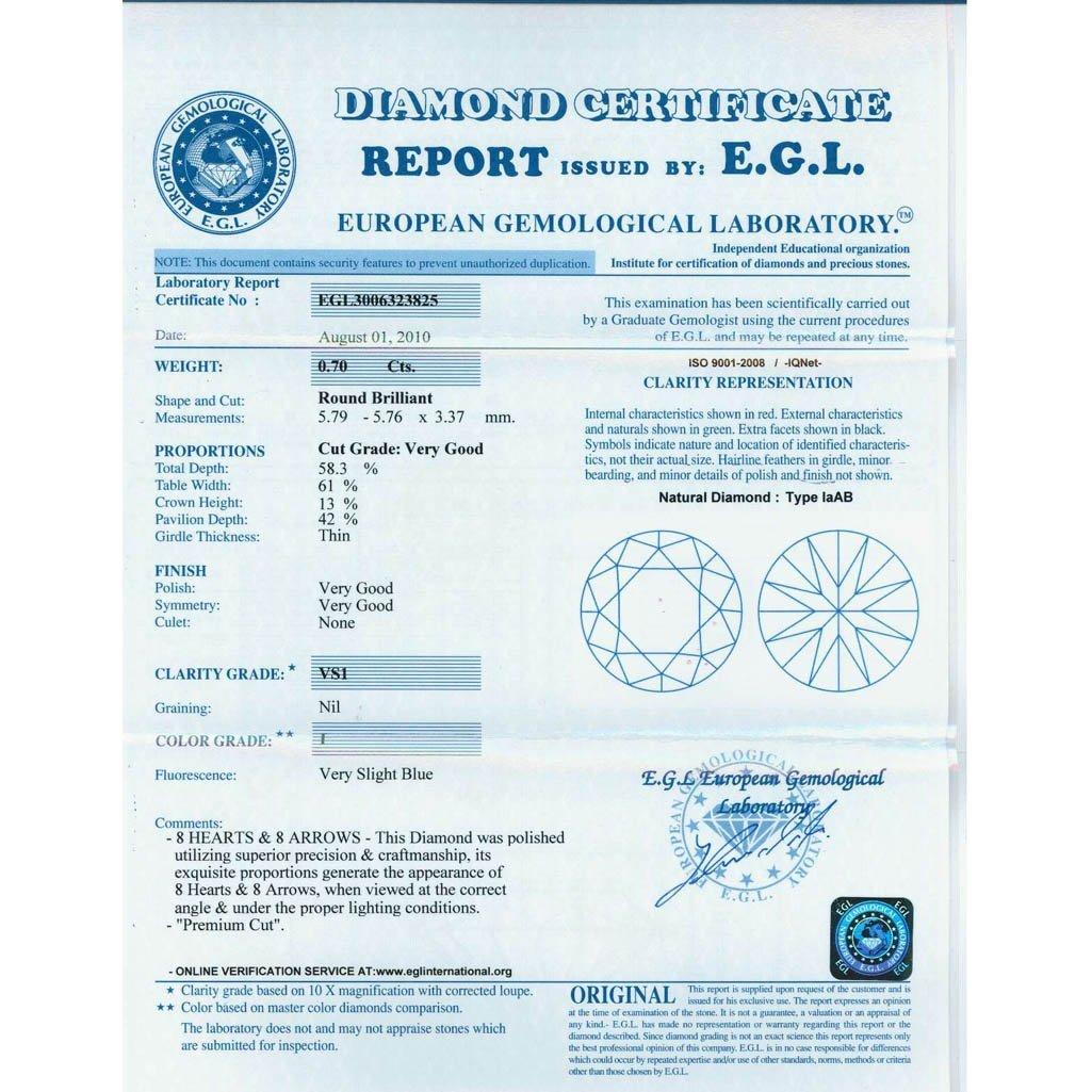 Diamond EGL Certified Round 0.70 ctw I,VS1 - 2