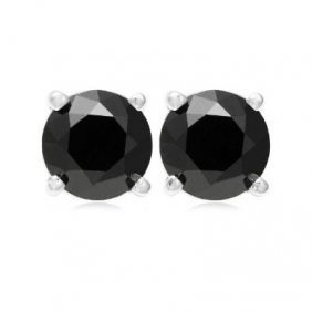 Genuine Black Diamond 2.0 ctw Earring 14K W/Y Gold