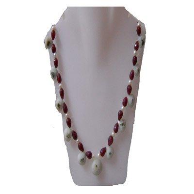 Natural 257.45ct Ruby,Peral,Semi Precious Necklace .925