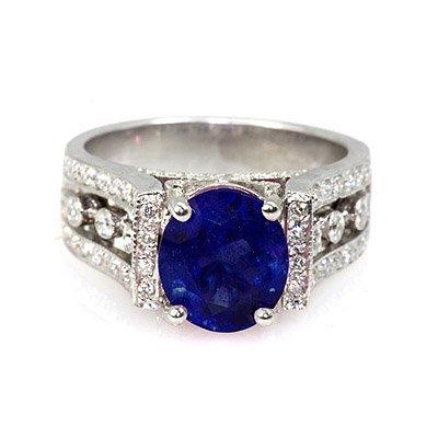 Genuine 3.79 ctw Ceylon-Sapphire Ring 14k