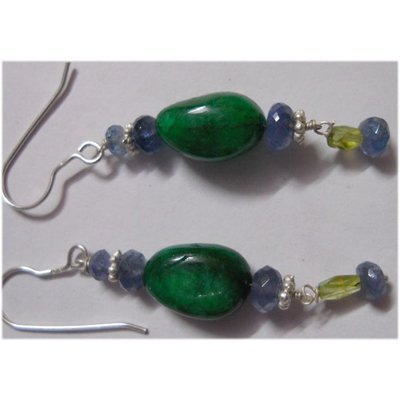 Natural 31.20ct Emerald/Tanzanite/Semi Precious Earring