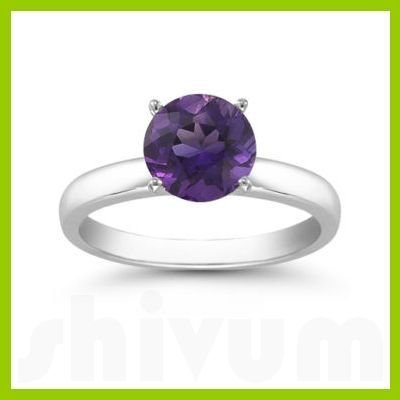 Genuine 0.85 ctw Amethyst Solitaire Ring 14kt