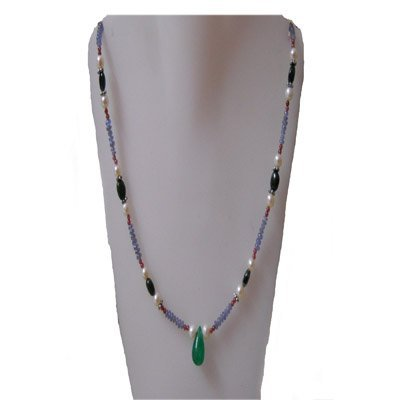 Natural 68.45ct Tanzanite,Pearl,Emerald,Sapphire Neckla