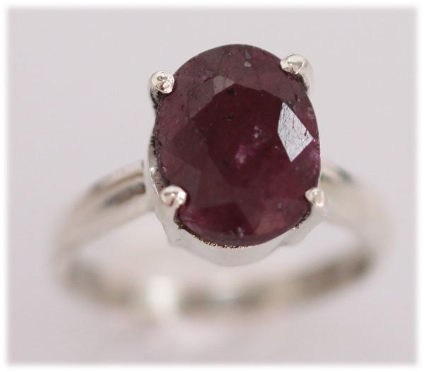 NATURAL 19.15 CTW RUBY OVAL RING .925 STERLING SILVER