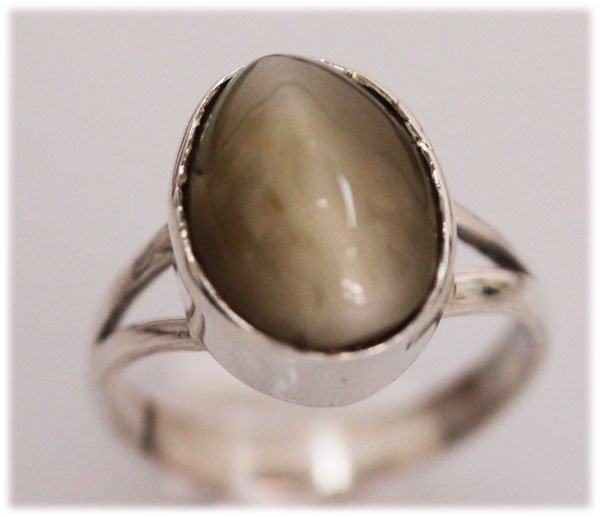 NATURAL 18.00 CTW CAT EYE OVAL RING .925 STERLING SILVE