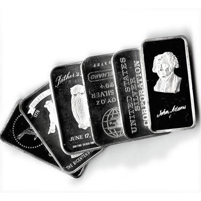 Silver Bars: Random Manufacturer 1 oz Bar .999 fine