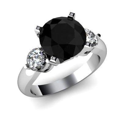 Genuine 3.90 ctw Black Diamond Ring Whte/Yllw Gold 14kt