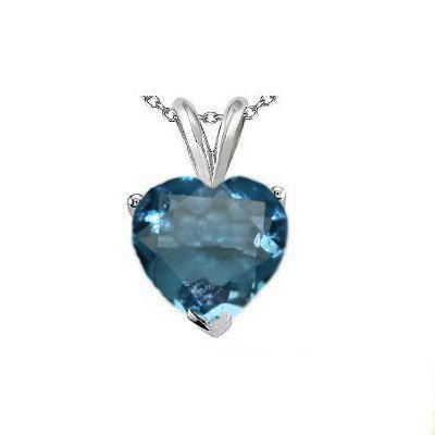 Natural 2.10 ctw Blue Topaz Heart Pendant .925 Sterling