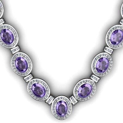 Certified 38.60 ctw Tanzanite Diamond Necklace 14k