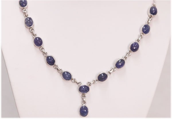 NATURAL 102.10 CTW TANZANITE OVAL NECKLACE .925 STERLIN