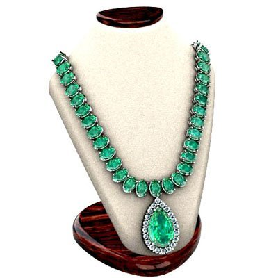 Emerald 59.14 ctw & Diamond Necklace 14kt W/Y 29 g