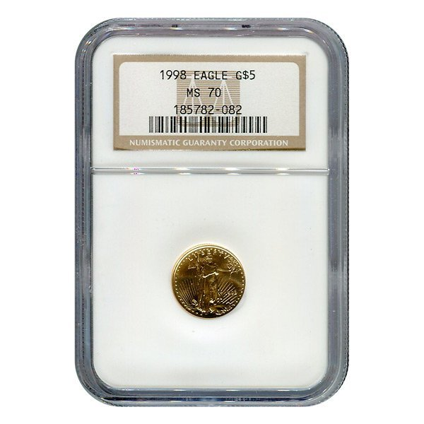 Certified American $5 Gold Eagle 1998 MS70 NGC