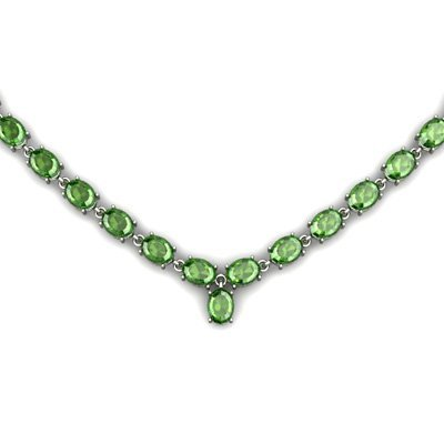 Natural Tourmaline 36.9ctw Oval Necklace .925 Sterling