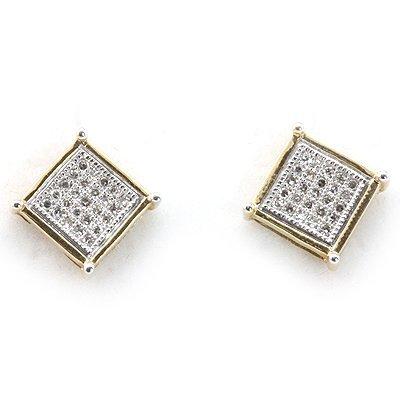 Genuine 0.15 ctw Diamond Square Invisible Earring 14k